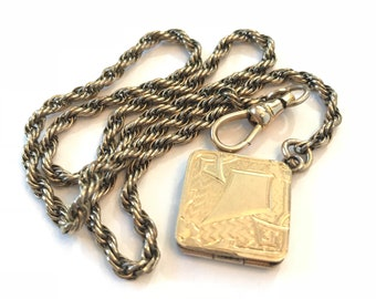 Vintage Watch Chain Photo Locket Choker Pendant Necklace Victorian Gold Filled Pocket Watch Chain w Fob Locket Antique Estate Jewelry