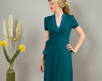 "Wrap Dress, Nursing Dress ""Diana"" in blue-green"