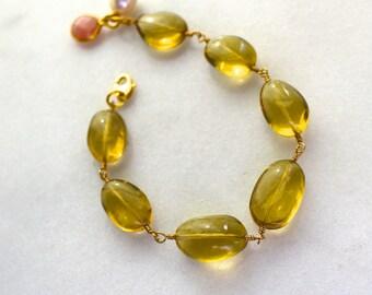 Luminous Oro Verde Lemon Quartz Polished Nugget Byzantine Linked Bracelet...