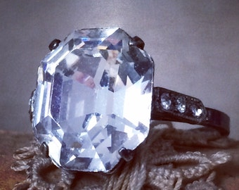 Vintage Faux Diamond Ring Sterling Silver Huge Asscher Cushion Cut Engagement Jewelry
