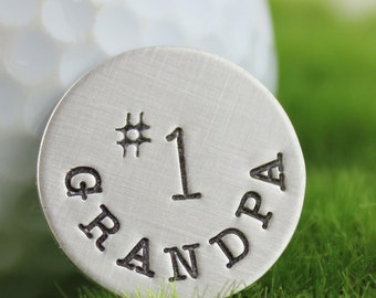 Golf Ball Marker or Pocket Token - No. 1 Grandpa hand stamped sterling silver