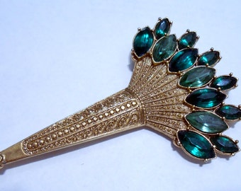 1928 Green Palm brooch, large statement piece , Free Domestic Shipping