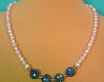 """Fancy and flashy 20"""" Pink Pearl Necklace and Earrings set - S041"""