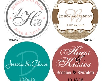 80 - 3 inch Custom Glossy Waterproof Wedding Stickers Labels - hundreds of designs to choose from - change designs to any color or wording
