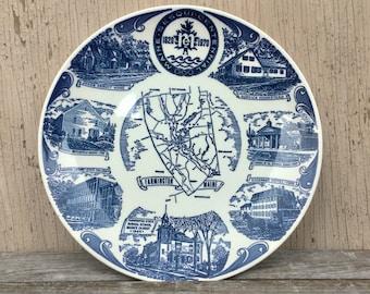 Farmington, Maine Sesquicentennial Plate, Blue Transferware, 1970 Souvenir