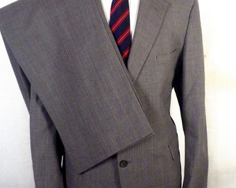 euc Victorian House gray Pinstripe Wool Blend 2 Pc Business Suit sz 42 R