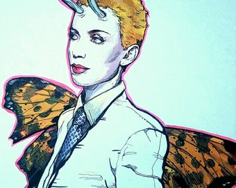 Annie Lennox Fairy original giclee print - antlers and painted lady butterfly wings