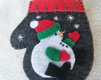 Snowman on Gray Felt Mitten Christmas Ornament/Gift Card Holder - 100% HANDMADE