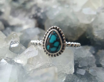 Turquoise Silver Ring, Turquoise Ring, Natural Turquoise Ring, 92.5% Sterling Silver ring, Mother's Day Ring, Boho Ring, Boho Jewelry