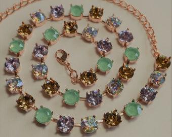 Mint Green and Purple Swarovski Crystal Necklace