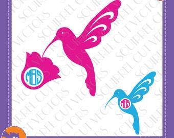 Hummingbird Monogram Frame SVG DXF EPS Cutting file