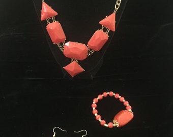Custom Orange Jewelry Set