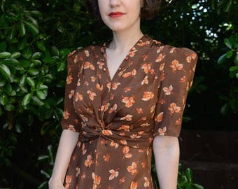 Lettie- Early 1940s inspired afternoon dress in original vintage rayon