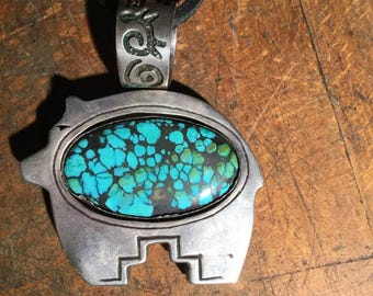large sterling silver pendant turquoise and coral