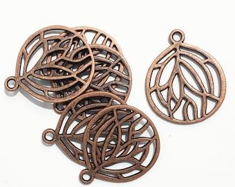 Bulk 50 pcs of Antique copper pendant 27x22mm, Red bronze teardrop  pendant, bulk alloy pendant, antique copper tree of life pendant