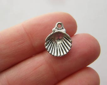 10 Shell charms antique silver tone FF342