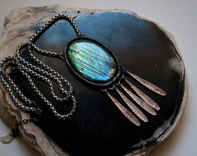 Rainbow Labradorite Crystal Fringe Necklace
