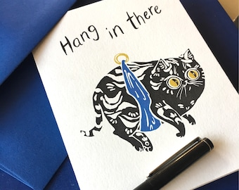 Hang in There Cat Greeting Card by PaperPuffin