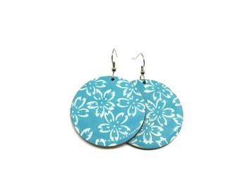Turquoise earrings, Cherry blossoms, sakura, Blue, Flowers, Japanese Chiyogami paper, Laser cut wood, resin coated, steel posts
