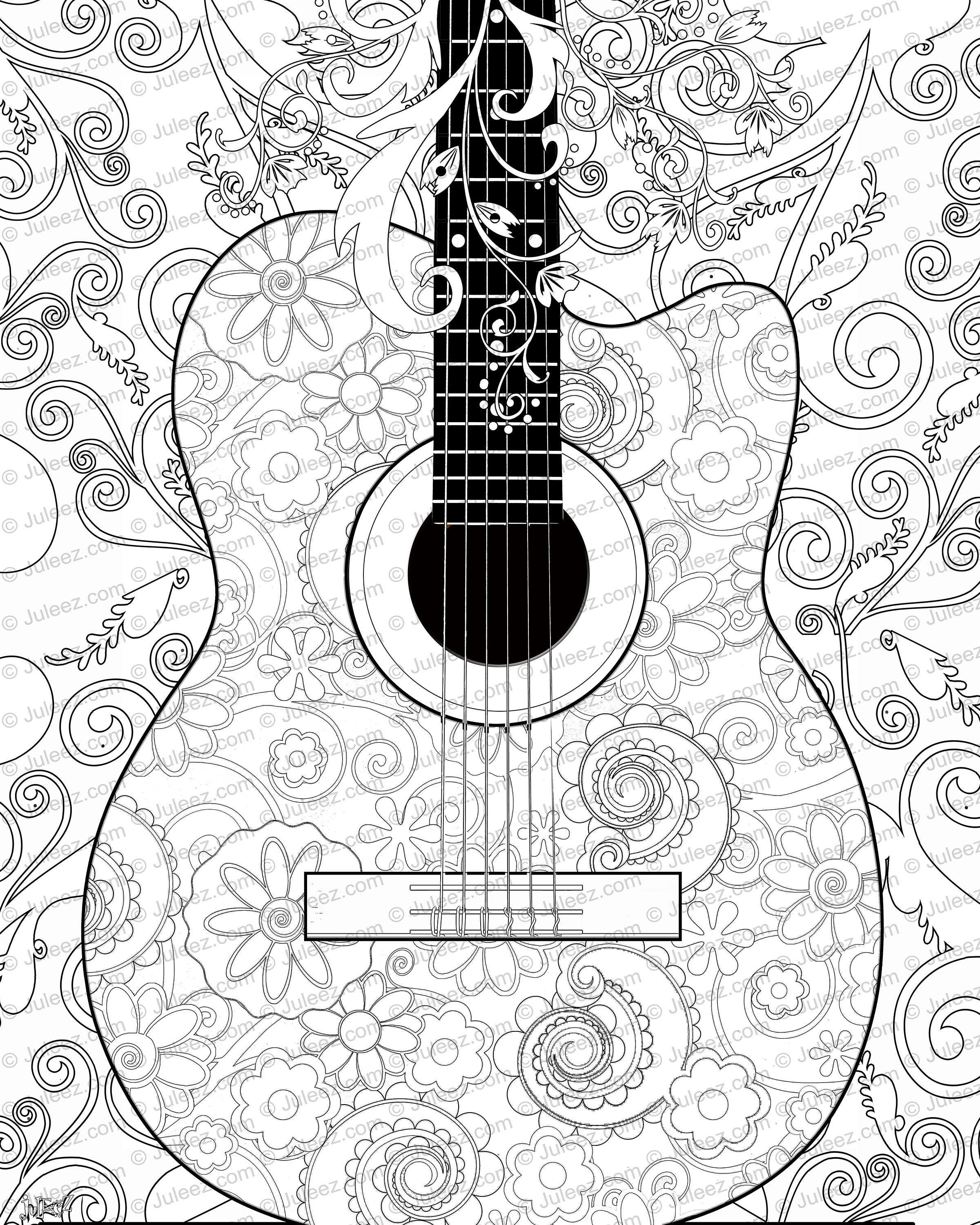 guitar coloring page.  zoom NEW Guitar Flowers Adult Coloring Page Printable