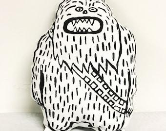 Screen Printed Sasquatch/ Big Foot/ Chewbacca pillow, Stuffie, Children Kid Graphic Design Pillow, Eco Friendly Plush