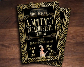 Great Gatsby Invitation for Birthday, Bridal Shower, Wedding, Sweet Sixteen, Quinceanera ! Download Printable!