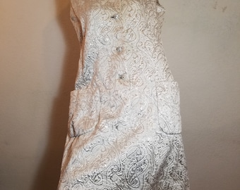 FREE  SHIPPING  1960 Mod Metallic Brocade  Dress