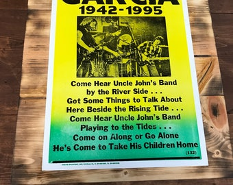 Jerry Garcia Poster 1942-1995 On Burnt Rustic Wood
