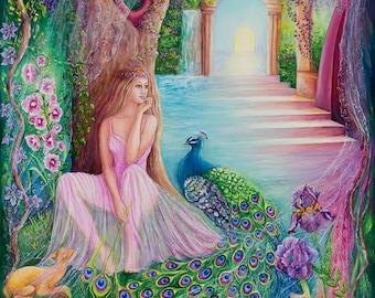 Enchantment fantasy art 27x39 20x27 13x20 canvas giclee. Print by VardaFreierLevyArt
