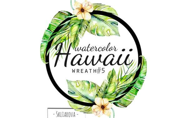 hawaii aquarell exotische kranz sommer floral palm tropischen. Black Bedroom Furniture Sets. Home Design Ideas