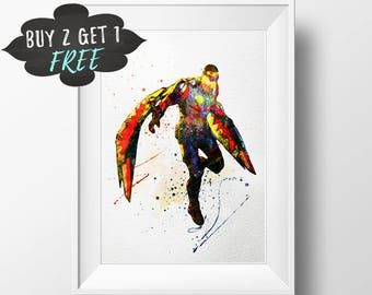 Superhero Poster, Avengers Superhero Wall Art, Superhero Print, Falcon Death Battle Marvel Avengers, Superhero Nursery Decor Printable