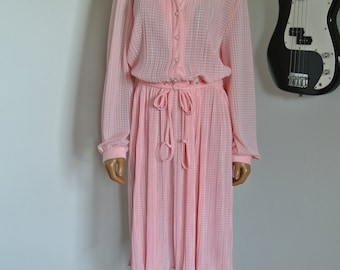 1960s Japanese Day Dress Pink Satin Damask by Gossamer Hal Ferma/ Large