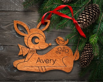 Personalized Wooden Deer Ornament: Baby's First Christmas 2018, Kids, Girl Animal Ornament