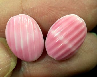 VINTAGE GERMAN Glass BEADS  Pink White Striped 14mm pkg2 gl490