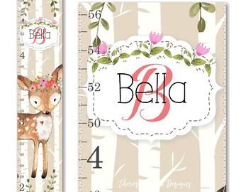 Canvas Growth Chart, Ruler Chart, Woodland Growth Chart, Deer Growth Chart, Floral Growth Chart, Woodland Decor, Height Chart