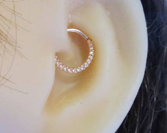 Rose Gold Plated Grooved Daith,Septum Piercing Bendable Ring..16g..8mm