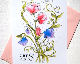 Graduation Card 2018 - Girl Graduation - Personalized Card - Sweet Peas Card - Custom Calligraphy