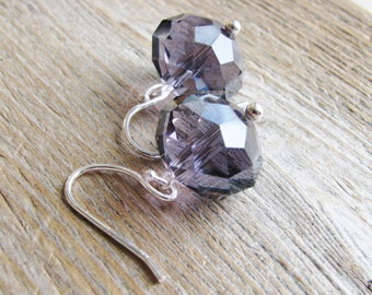 Purple Glass Earrings Dangles Faceted Rondelles Sterling Silver Simple Beaded Minimalist Ear Sparkle