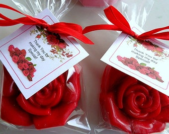 10 Rose Soap Favors, Love, Valentine's Day, Mother's Day, Special Occasion Party Favors, Weddings, Custom Favors