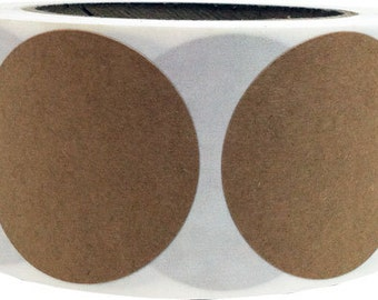 """Natural Kraft Paper Adhesive Labels - 2"""" Inch Round   500 Stickers"""