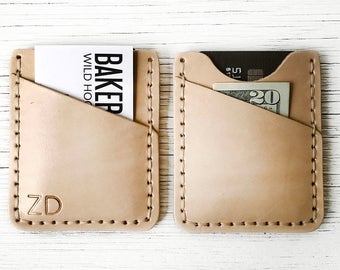 Leather Wallet Mens Gift Personalized BUY IT ONCE - Personalized up to Three Characters, Initials - Durable, Slim, Thin Front Pocket Wallet