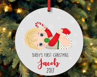 Baby Boy First Christmas Ornament, Personalized Christmas Ornament, Custom Ornament, Blonde Baby Boy Christmas Ornament (0098)