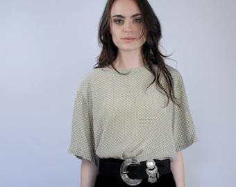 Light sage green with white polkadot oversize plus size SILK blouse 1990s 90s VINTAGE