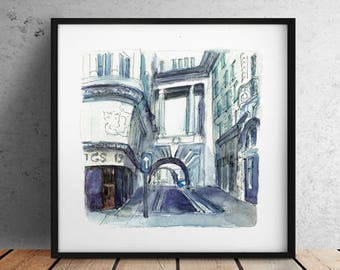 Italy watercolor sketch / City print  / Italy  print / Italy sketch / Italy architecture / Italy watercolor print / INSTANT DOWNLOAD I