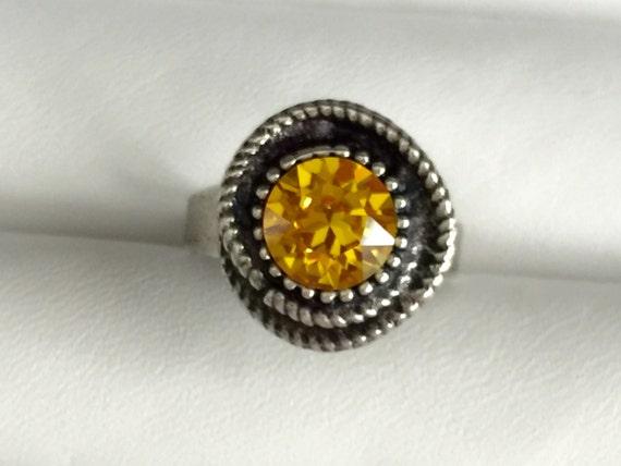 Sunflower Crystal Ring, Swarovski Sunflower Ring, Sunflower Crystal Rope Ring, Swarovski Yellow Crystal Ring