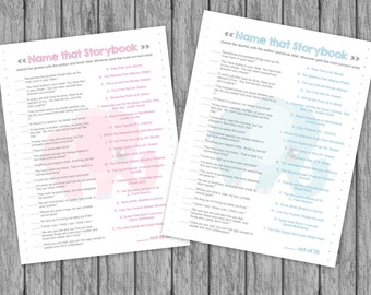 Storybook Baby Shower Game Name that Storybook Pink and Gray, Gray and Blue, Elephants INSTANT DOWNLOAD