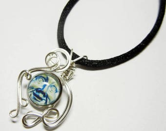 Wire Wrap Blue Moon Face II Pendant with Necklace