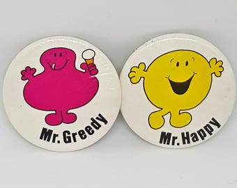Pair of Vintage Mr Men Badges - Mr Greedy and Mr Happy