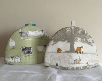 Tea Cosy for 2 cup pot - Sheep and Woodland themed