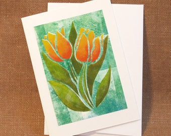 Note Card - Hand Stenciled - Tulips - All Occasion Card - Hand Stencilled Card - Blank Inside - Notecard - Floral Note Card